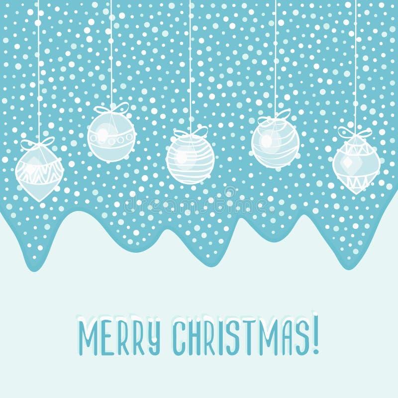 Tarjeta azul con las bolas de la Navidad ilustración del vector