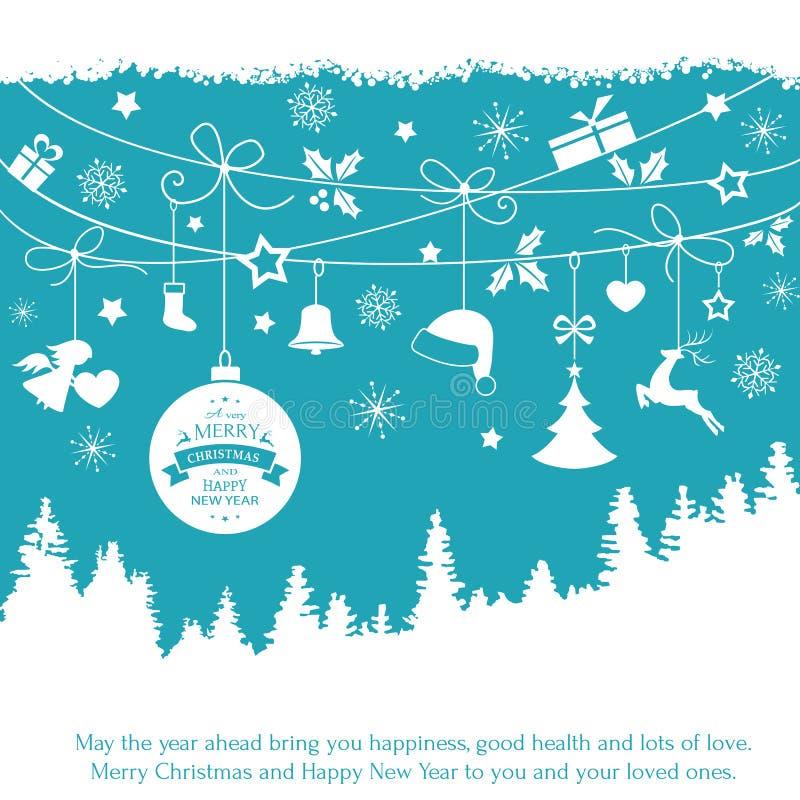 Tarjeta azul con los ornamentos de la Navidad de la ejecución stock de ilustración