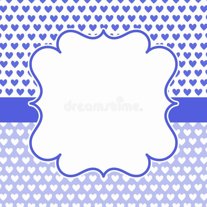Tarjeta Azul De La Invitación Del Marco De Los Corazones Foto de ...