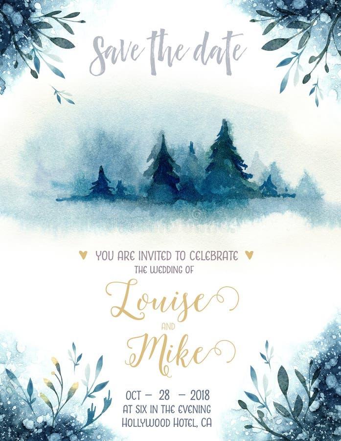 Tarjeta azul de la invitación de la Navidad del color de la acuarela con el árbol de navidad Textura del papel del añil con el ab libre illustration