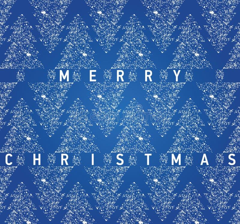 Tarjeta azul de la Navidad con los árboles de navidad sucios ilustración del vector