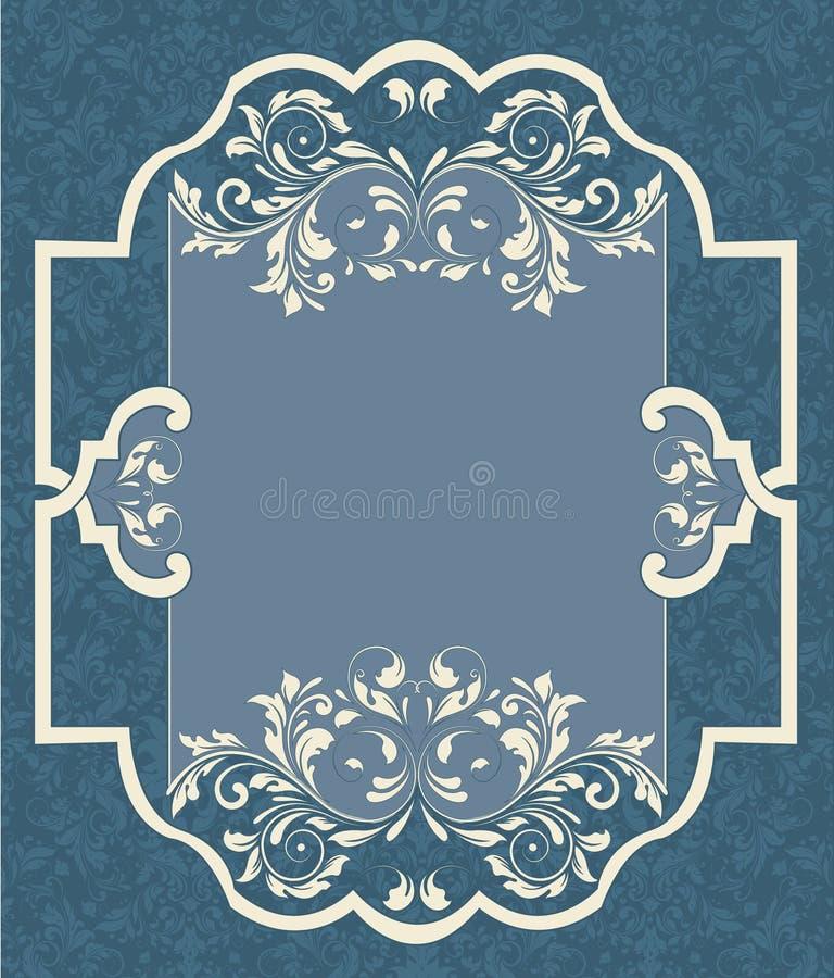 Tarjeta azul del damasco de la vendimia ilustración del vector