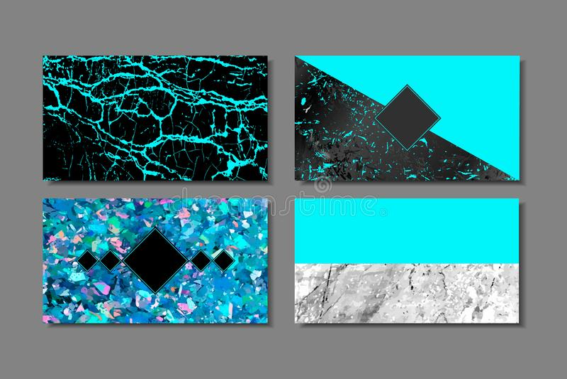 Tarjeta azul del negocio de lujo con la textura de mármol y la plantilla geométrica del línea y de oro del fondo del vector stock de ilustración