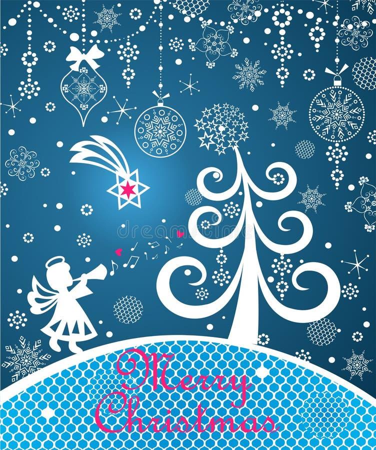 Tarjeta azul del saludo mágico de Navidad con el árbol de navidad divertido, ángel de papel del corte y estrella de la Navidad, c stock de ilustración