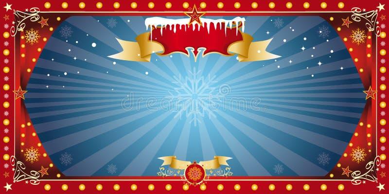 Tarjeta azul horizontal de la Navidad ilustración del vector
