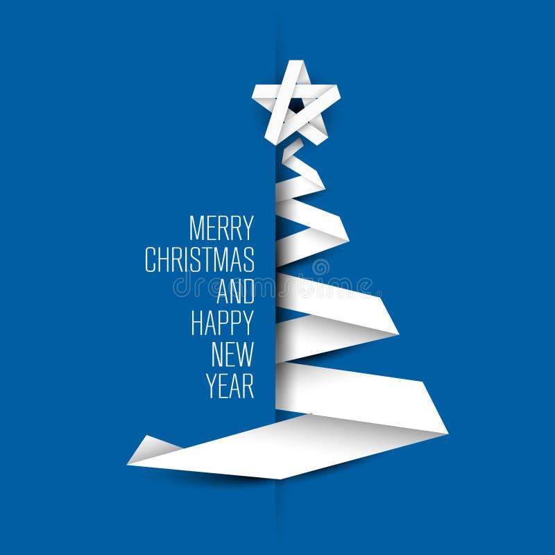 Tarjeta azul simple con el árbol de navidad hecho de la raya de papel stock de ilustración