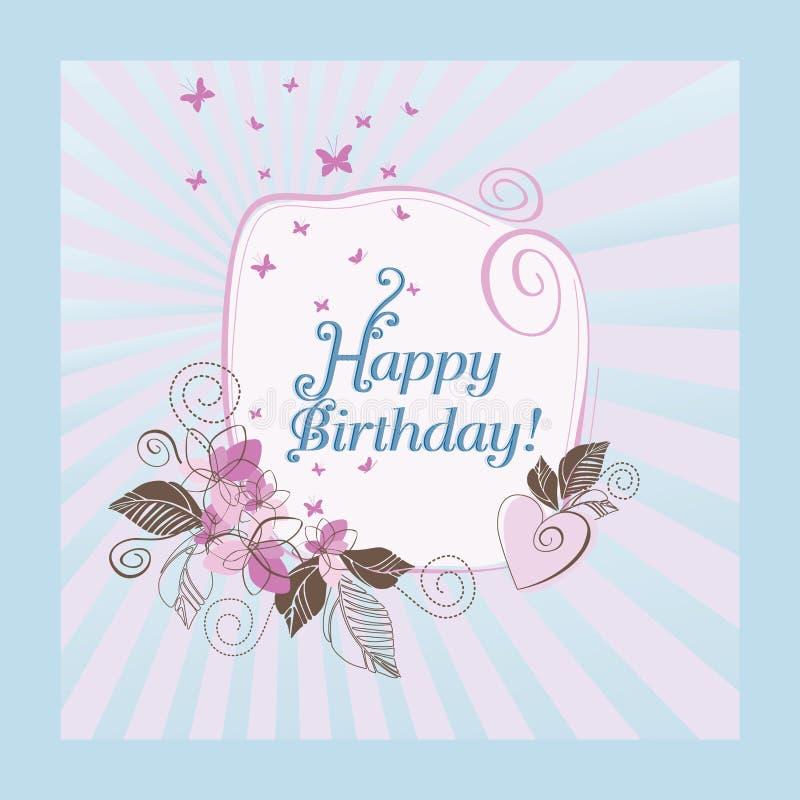 Tarjeta azul y rosada del feliz cumpleaños stock de ilustración