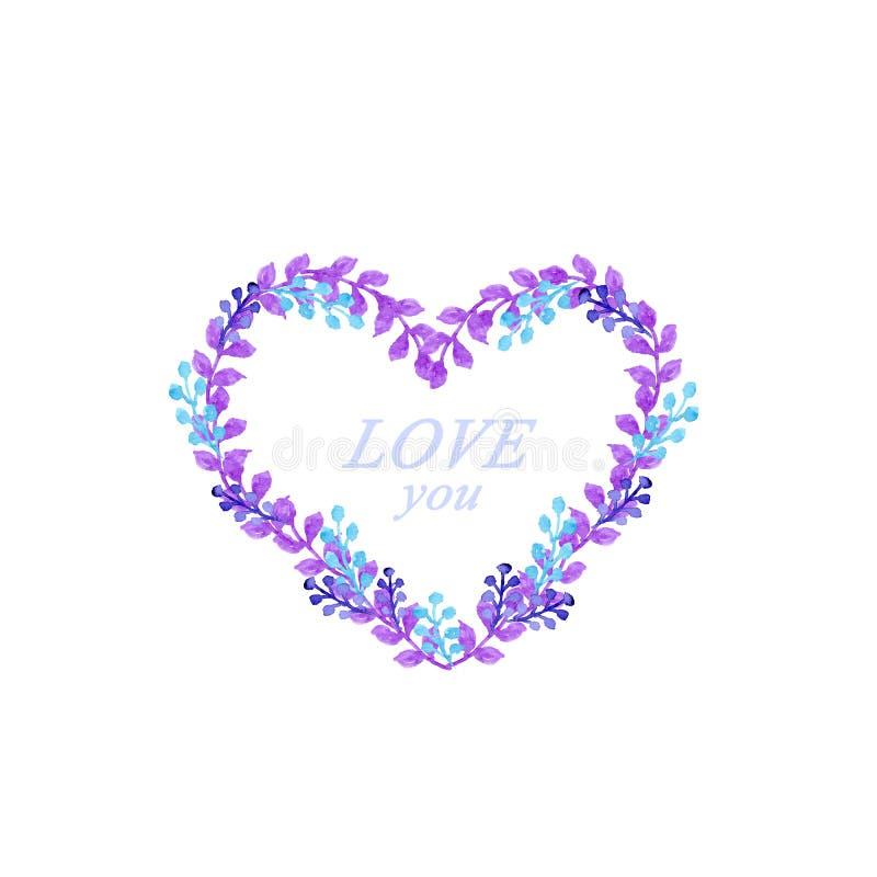 Tarjeta azul y violeta de la acuarela del corazón del marco stock de ilustración