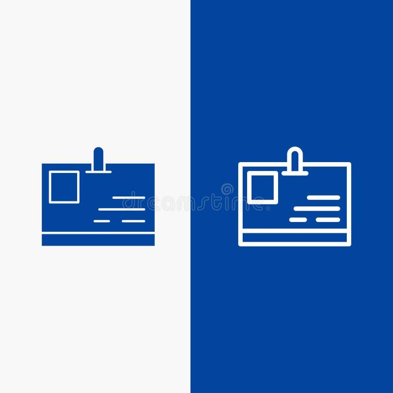 Tarjeta, bandera azul de bandera del icono sólido de la tarjeta de la identificación, de la identidad, de la línea del paso y del ilustración del vector