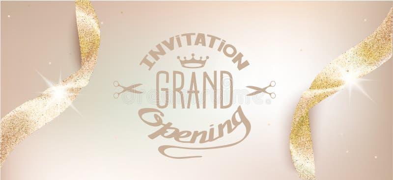Tarjeta beige de la invitación de la gran inauguración elegante con las cintas chispeantes ilustración del vector