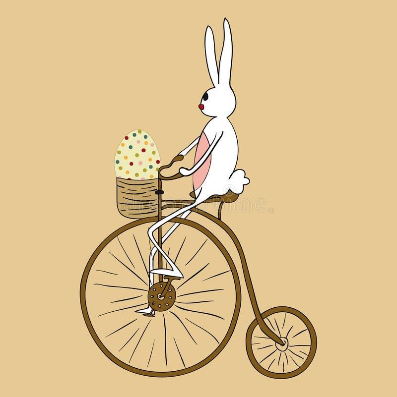 Tarjeta biking del conejito de pascua del vintage ilustración del vector