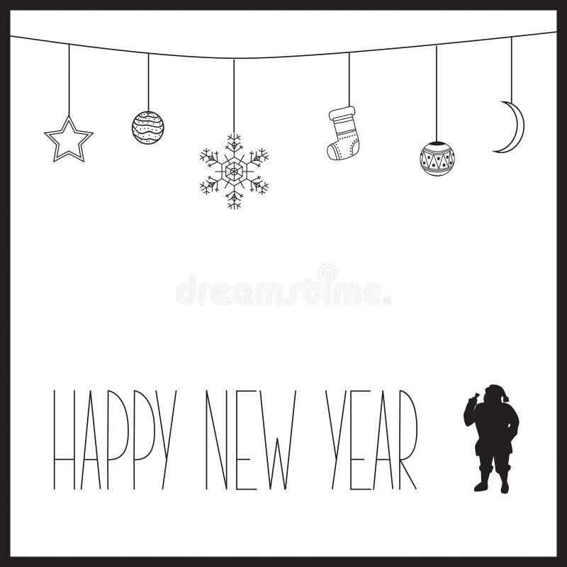 Tarjeta blanca del Año Nuevo con el texto y la silueta negros de Santa Claus Ilustración del vector fotografía de archivo