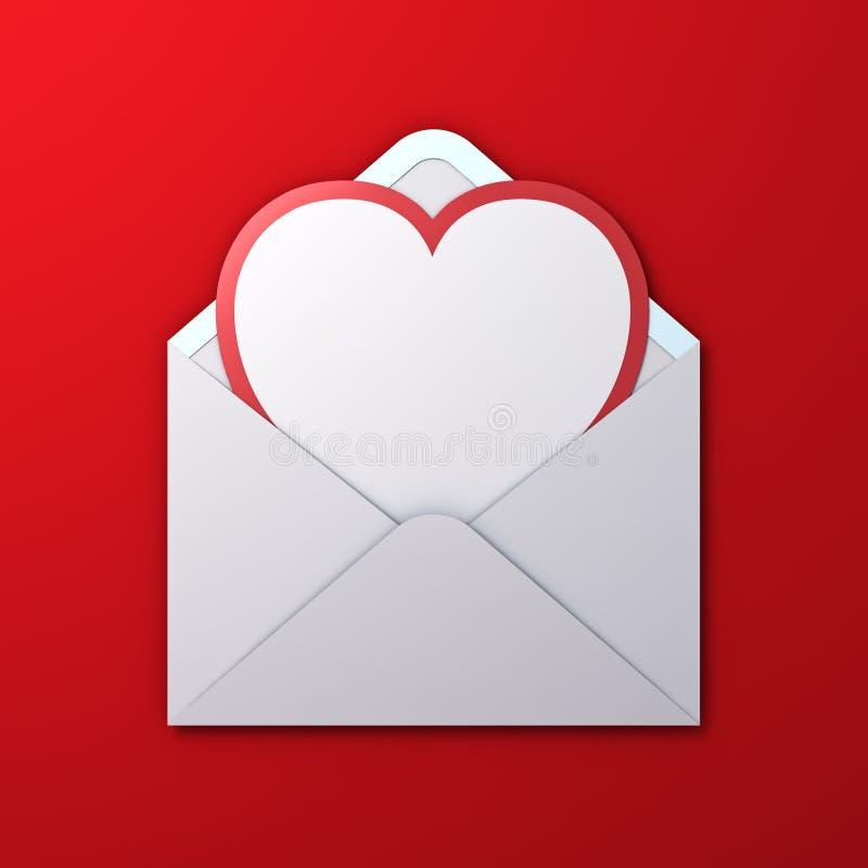 Tarjeta blanca del corte del papel de la forma del corazón del espacio en blanco con el borde rojo en el sobre blanco aislado en  foto de archivo