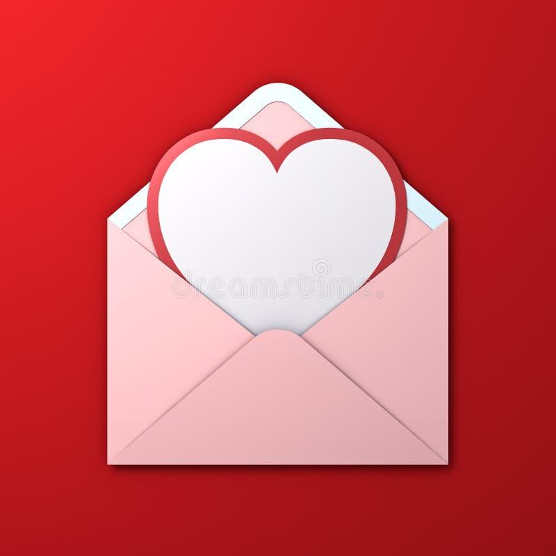 Tarjeta blanca del corte del papel de la forma del corazón del espacio en blanco con el borde rojo en sobre rosado del color en c imagenes de archivo