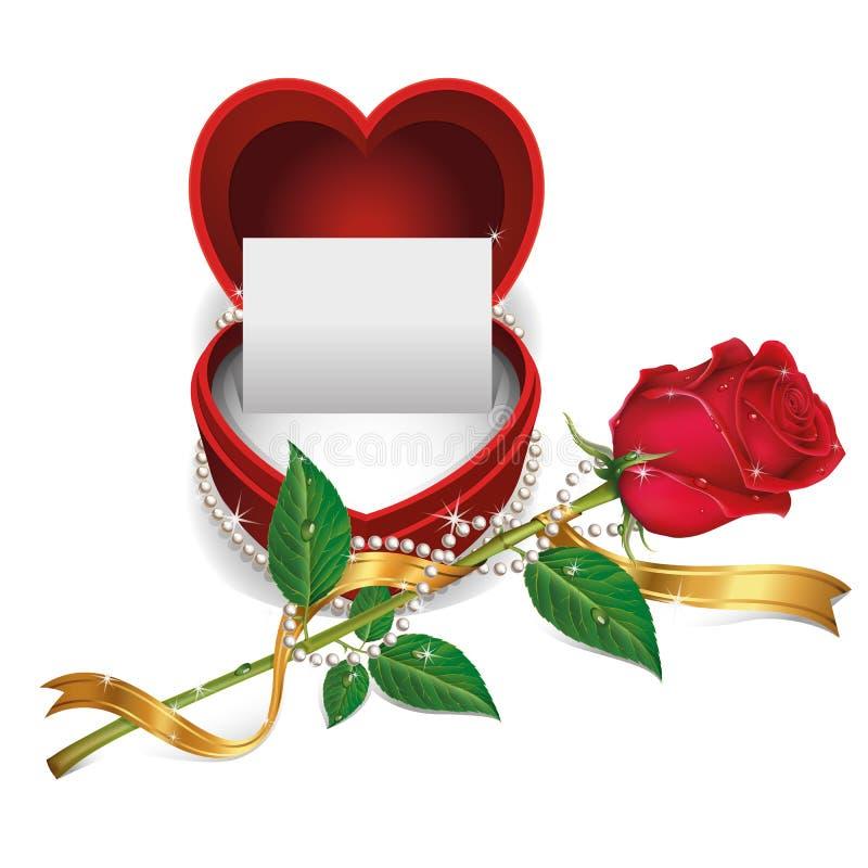 Tarjeta blanca en caja y rosas rojas del terciopelo. stock de ilustración