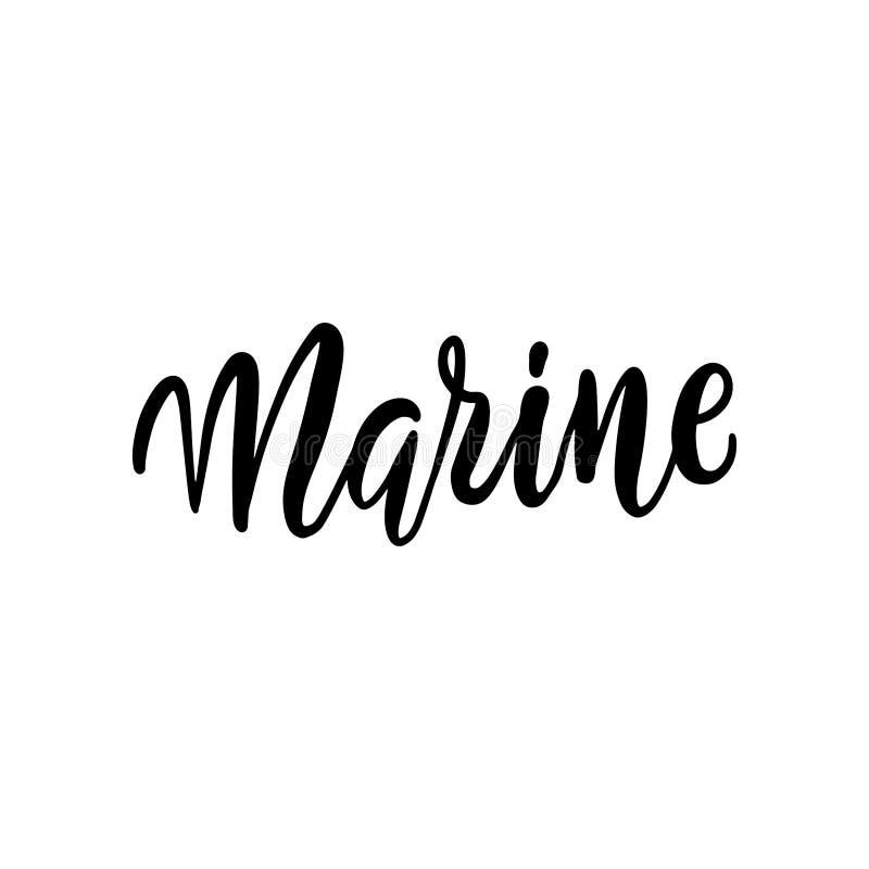Tarjeta blanco y negro marina ejemplo del cepillo de la tinta Letras dibujadas mano Aislado en el fondo blanco Perfeccione el ele libre illustration