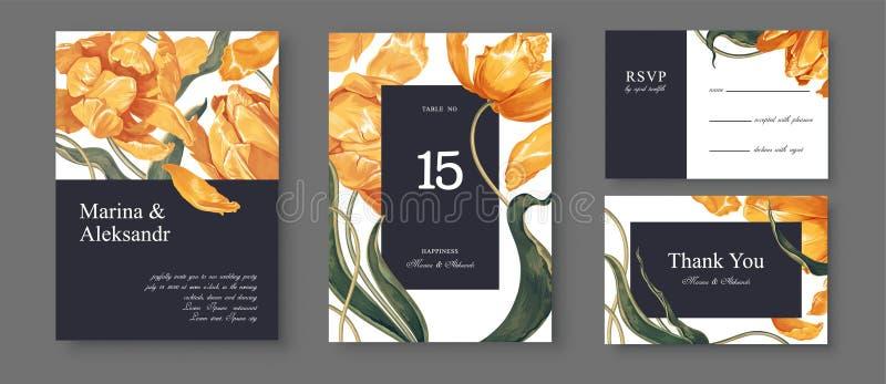 Tarjeta bot?nica de la invitaci?n de la boda Dise?o de la plantilla con las flores y las hojas amarillas de los tulipanes stock de ilustración