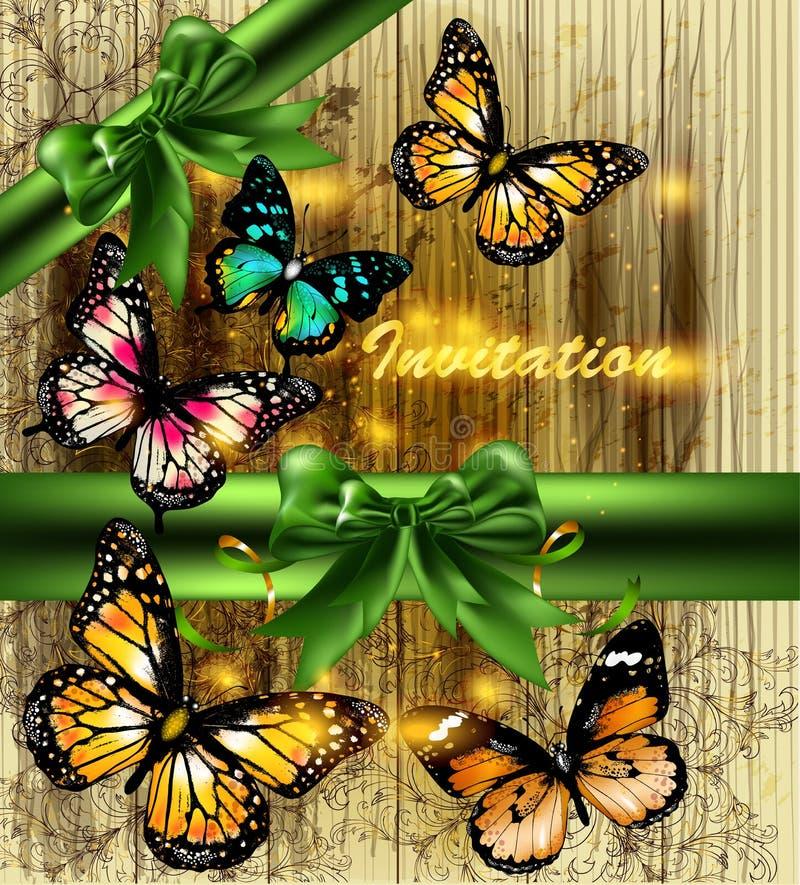 Tarjeta brillante elegante de la invitación con las mariposas ilustración del vector