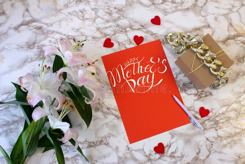 Tarjeta, cartel, plantilla de felicitaciones en el Día de la Madre fotos de archivo
