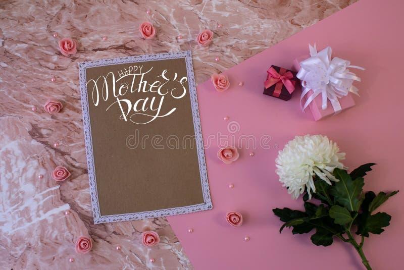 Tarjeta, cartel, plantilla de felicitaciones en el Día de la Madre imagen de archivo libre de regalías
