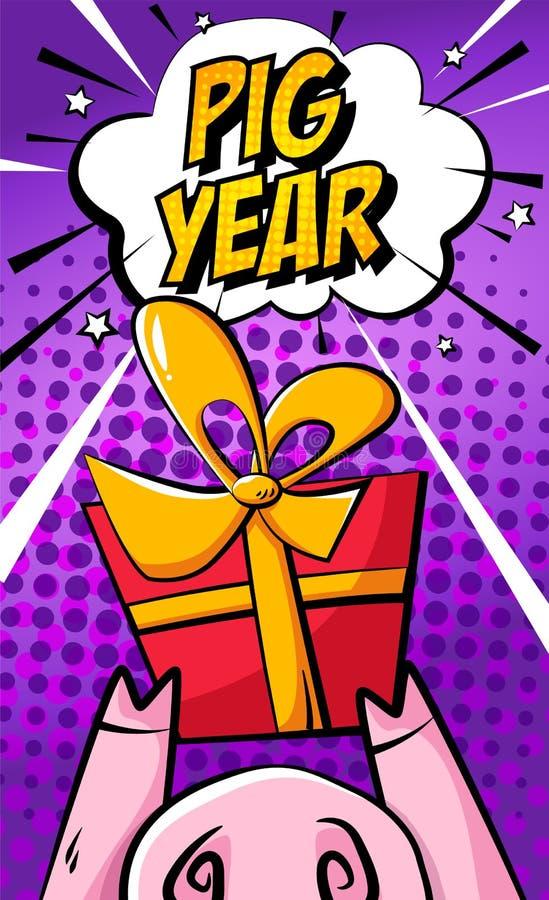 Tarjeta china feliz del Año Nuevo con la nariz del cerdo de la historieta, el regalo y la nube del texto en fondo púrpura Estilo  libre illustration