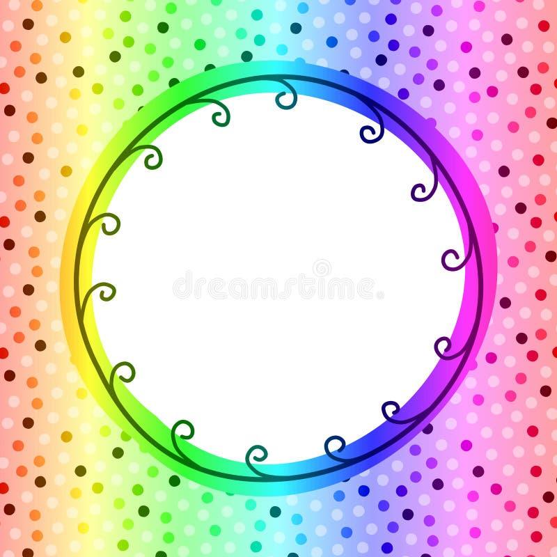 Tarjeta circular de la invitación del marco del arco iris stock de ilustración