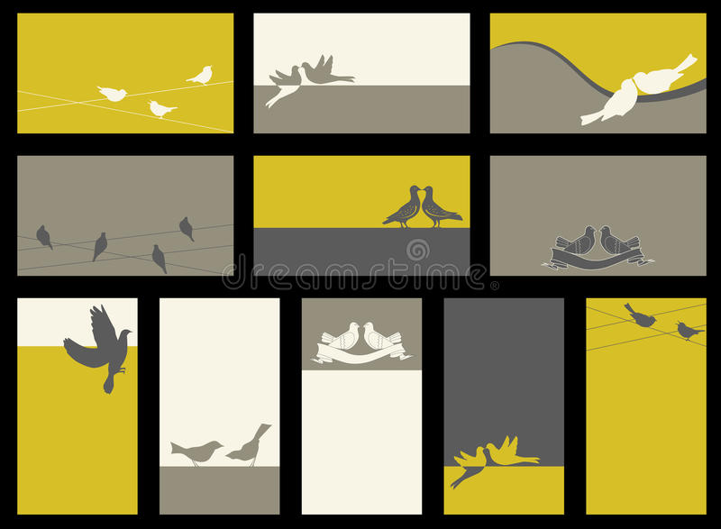 Tarjeta - colección con los pájaros ilustración del vector