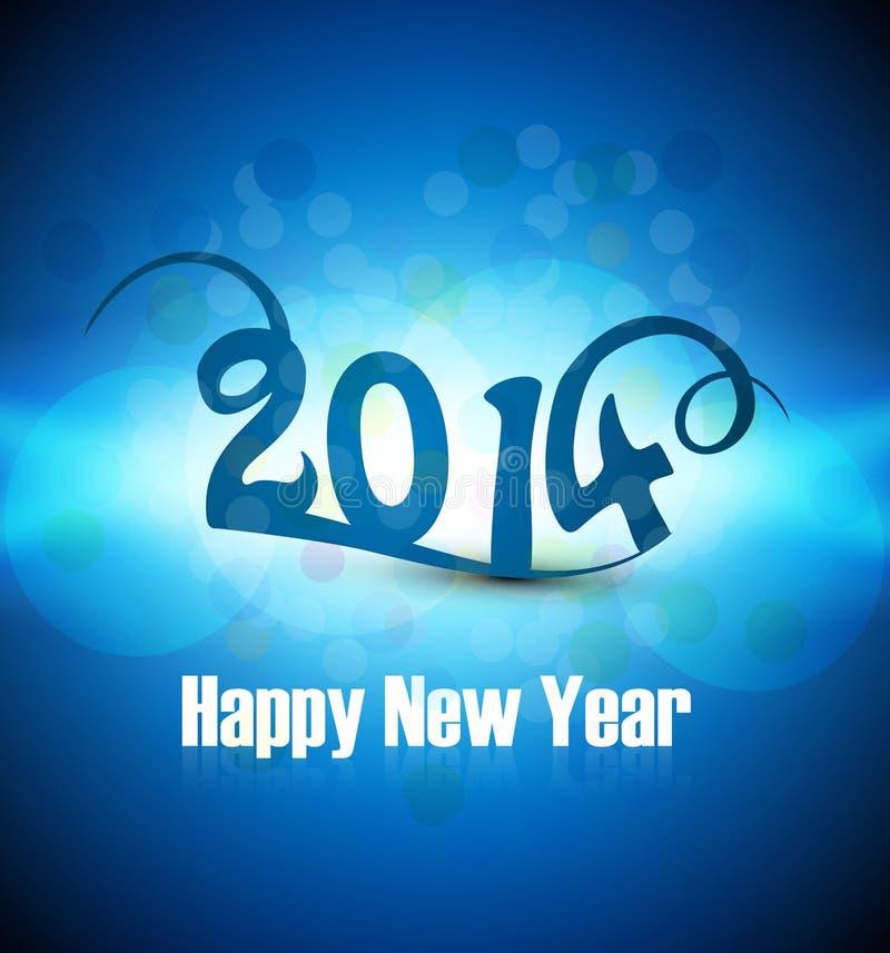 Tarjeta colorida azul de la Feliz Año Nuevo 2014 de la celebración hermosa libre illustration