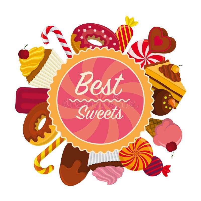 Tarjeta colorida con los dulces stock de ilustración