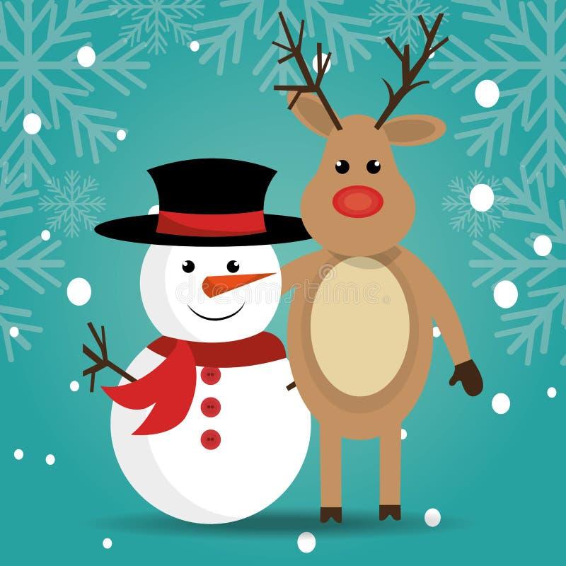 Tarjeta colorida de la Feliz Navidad stock de ilustración