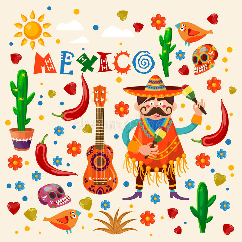 Tarjeta colorida del vector sobre México Cartel del viaje con los artículos mexicanos libre illustration