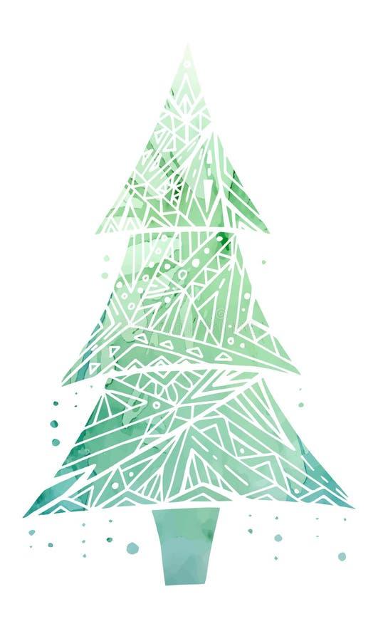 Tarjeta con el árbol de navidad del garabato y el fondo verde de la acuarela ilustración del vector