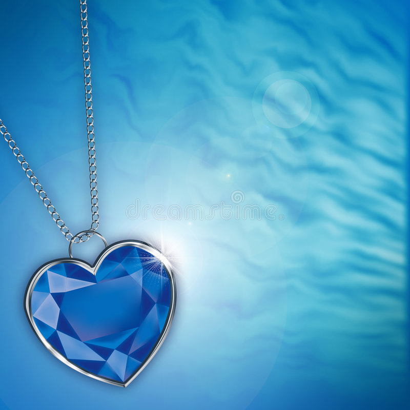 Tarjeta con el corazón azul del diamante para el diseño libre illustration