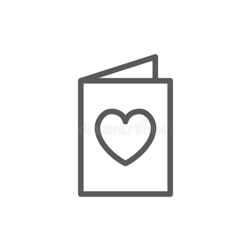 Tarjeta con el corazón, caridad, línea icono del día de San Valentín stock de ilustración
