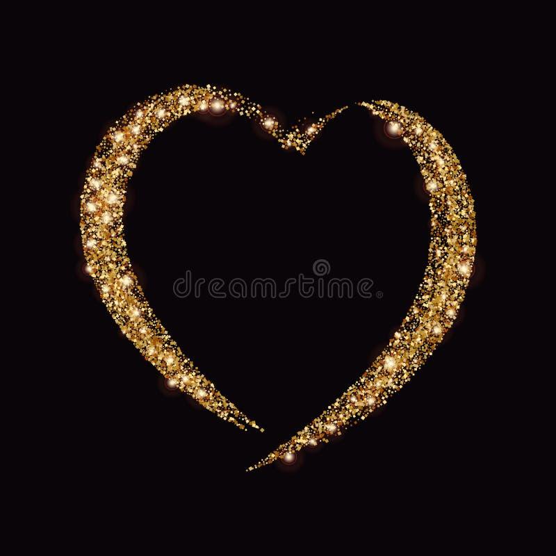 Tarjeta con el corazón del polvo de estrella del oro que brilla, chispas de oro en fondo negro stock de ilustración