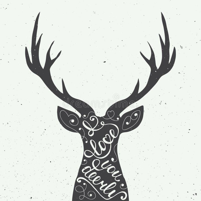 Tarjeta con el elemento dibujado mano del diseño de la tipografía y ciervos para las tarjetas de felicitación, los carteles y la  ilustración del vector