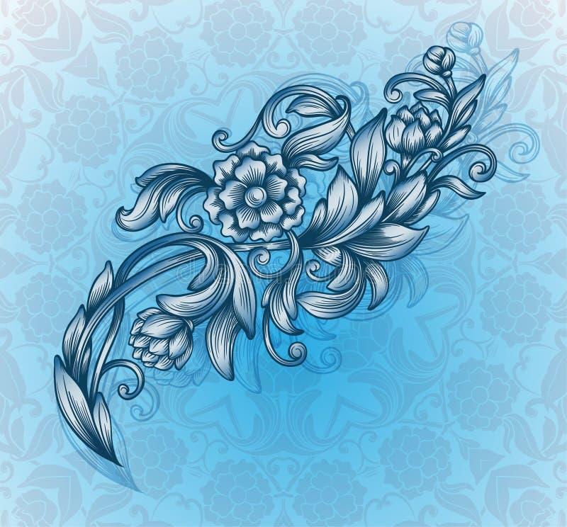 Tarjeta con el estampado de flores stock de ilustración