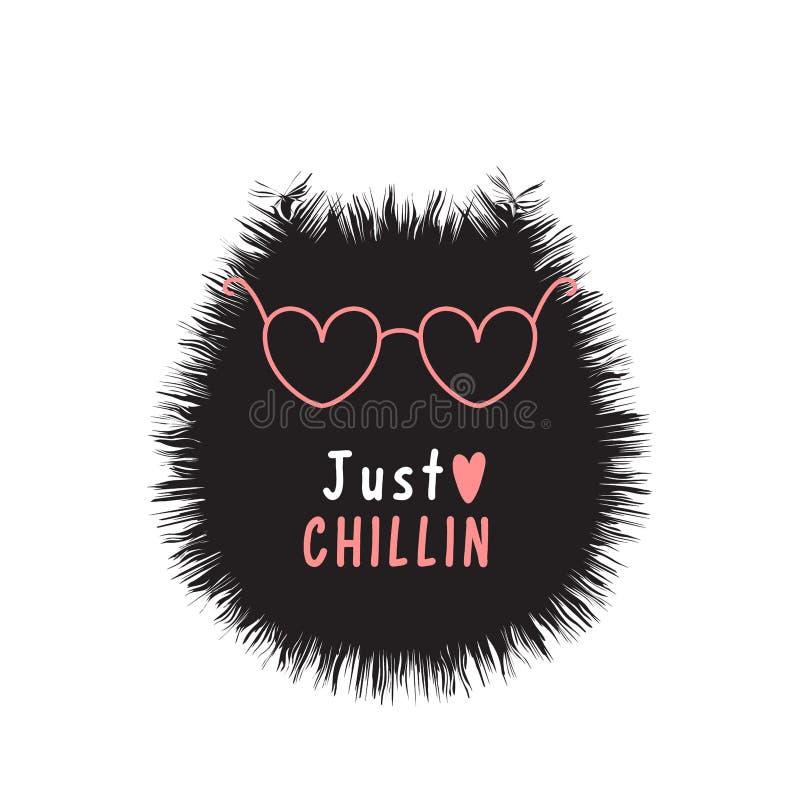 Tarjeta con el gato negro creativo, los vidrios rosados y chillin del texto apenas stock de ilustración