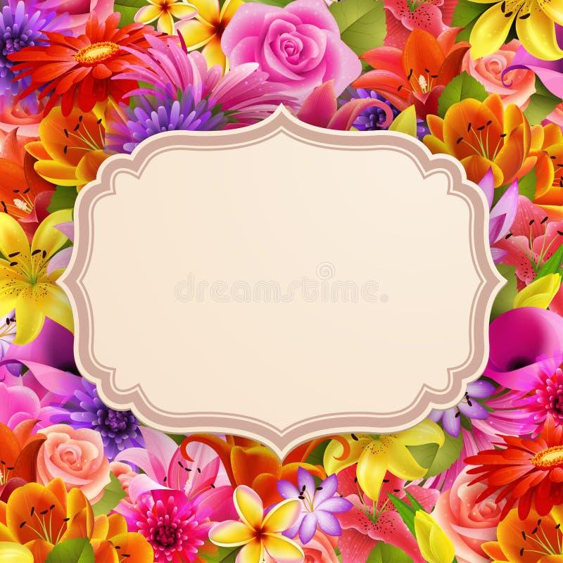 Tarjeta con el lugar para el texto en fondo de la flor libre illustration