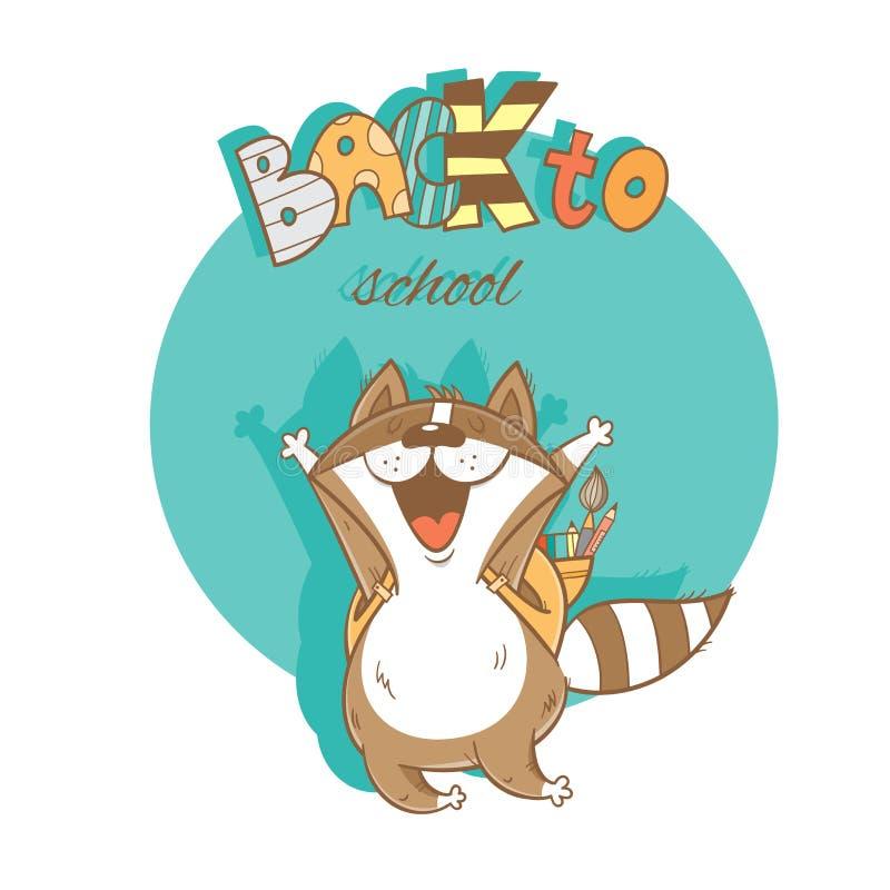 Tarjeta con el mapache ilustración del vector
