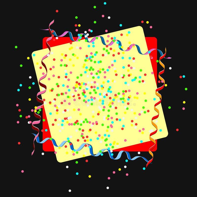 Tarjeta con el marco de papel, el polvo coloreado, el confeti, las bolas y la serpentina Elementos para la bandera, día de fiesta stock de ilustración