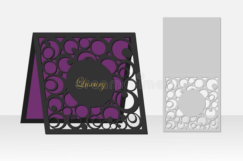 Tarjeta con el modelo geométrico del círculo para el corte del laser Diseño de la silueta libre illustration
