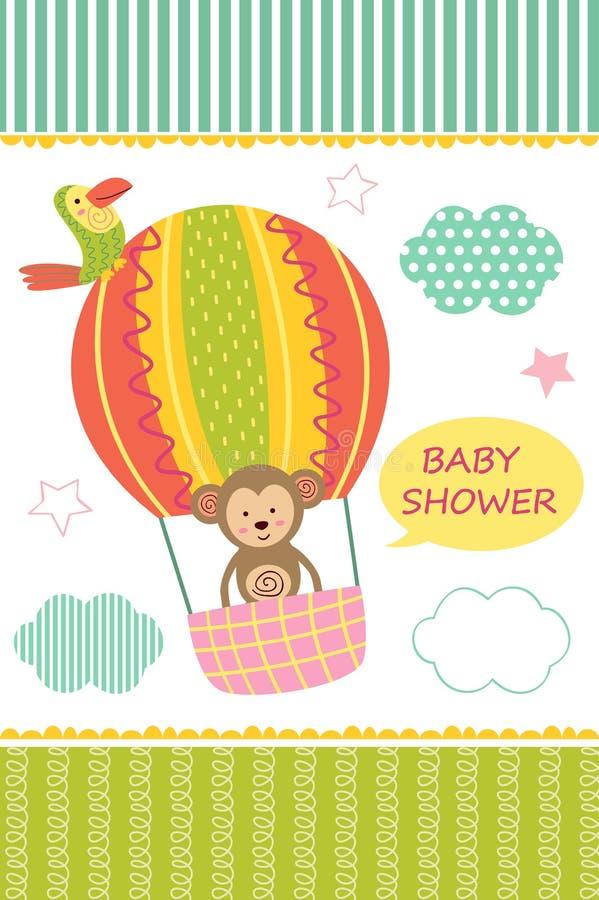 Tarjeta con el mono del bebé en el balón de aire libre illustration