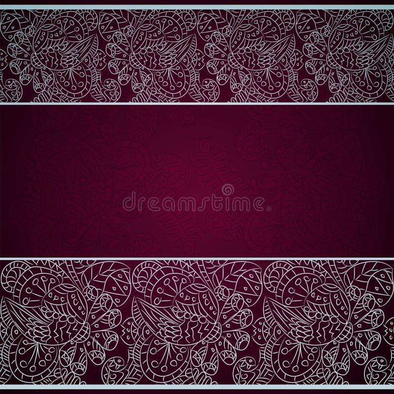 Tarjeta con el ornamento floral de plata en fondo rojo ilustración del vector