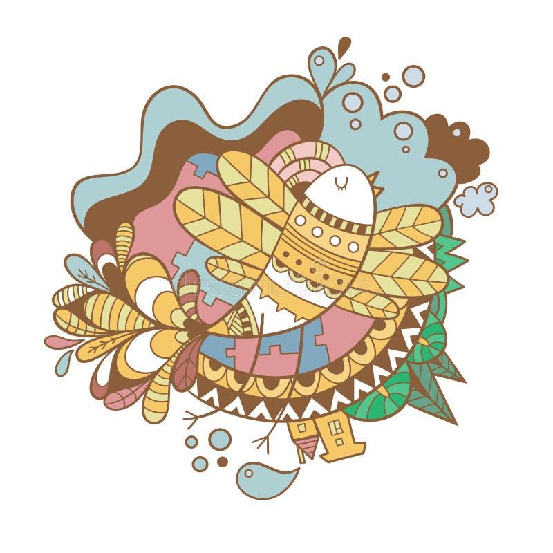 Tarjeta con el p?jaro libre illustration
