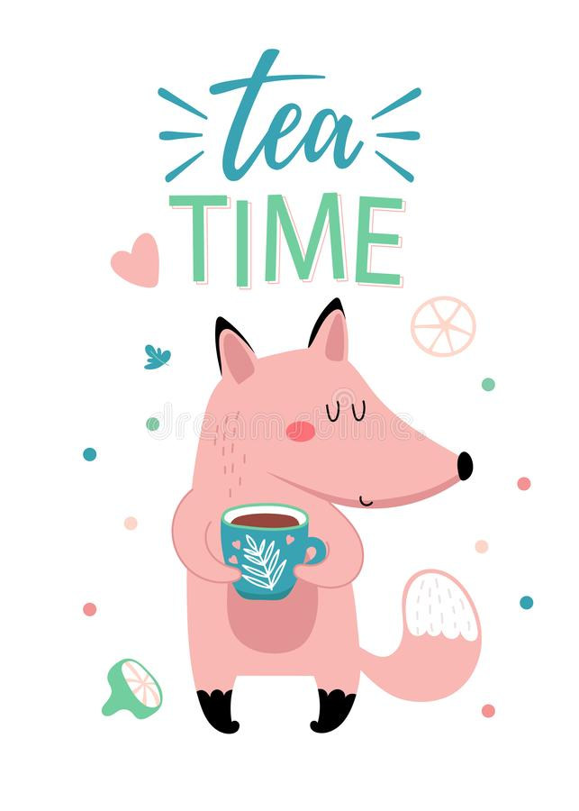 Tarjeta con el zorro con la taza de té libre illustration
