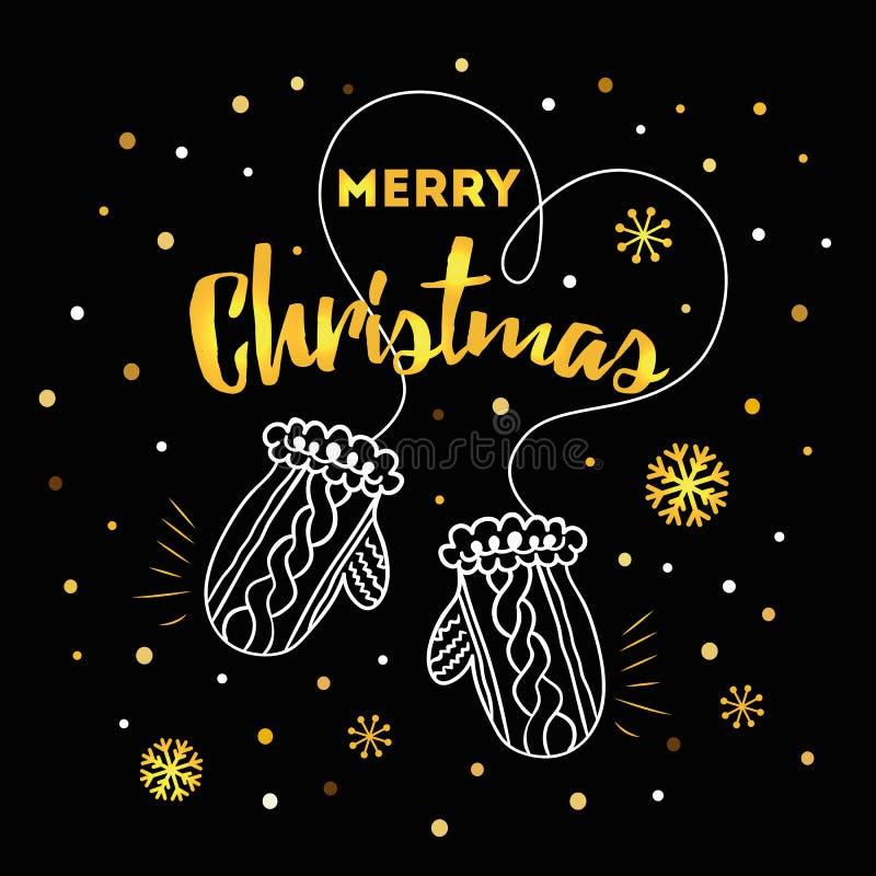 Tarjeta con Feliz Navidad del texto, copos de nieve del oro, manoplas del invierno en fondo negro libre illustration