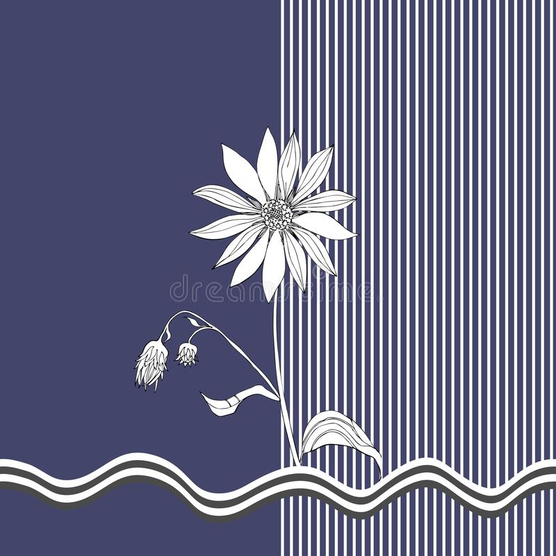 Tarjeta con la alcachofa de Jerusalén blanco y negro en fondo azul marino y rayado Diseño del verano del vector ilustración del vector