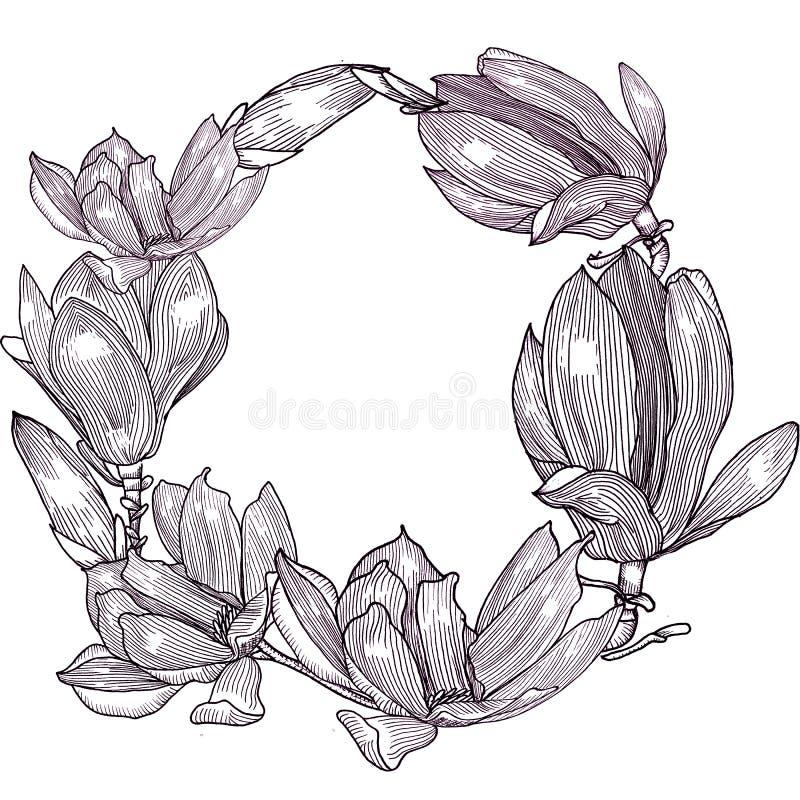 Tarjeta con la magnolia gr?ficos Mano drenada Dimensi?n de una variable redonda stock de ilustración