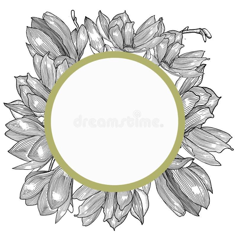 Tarjeta con la magnolia Mano drenada Geaphics stock de ilustración